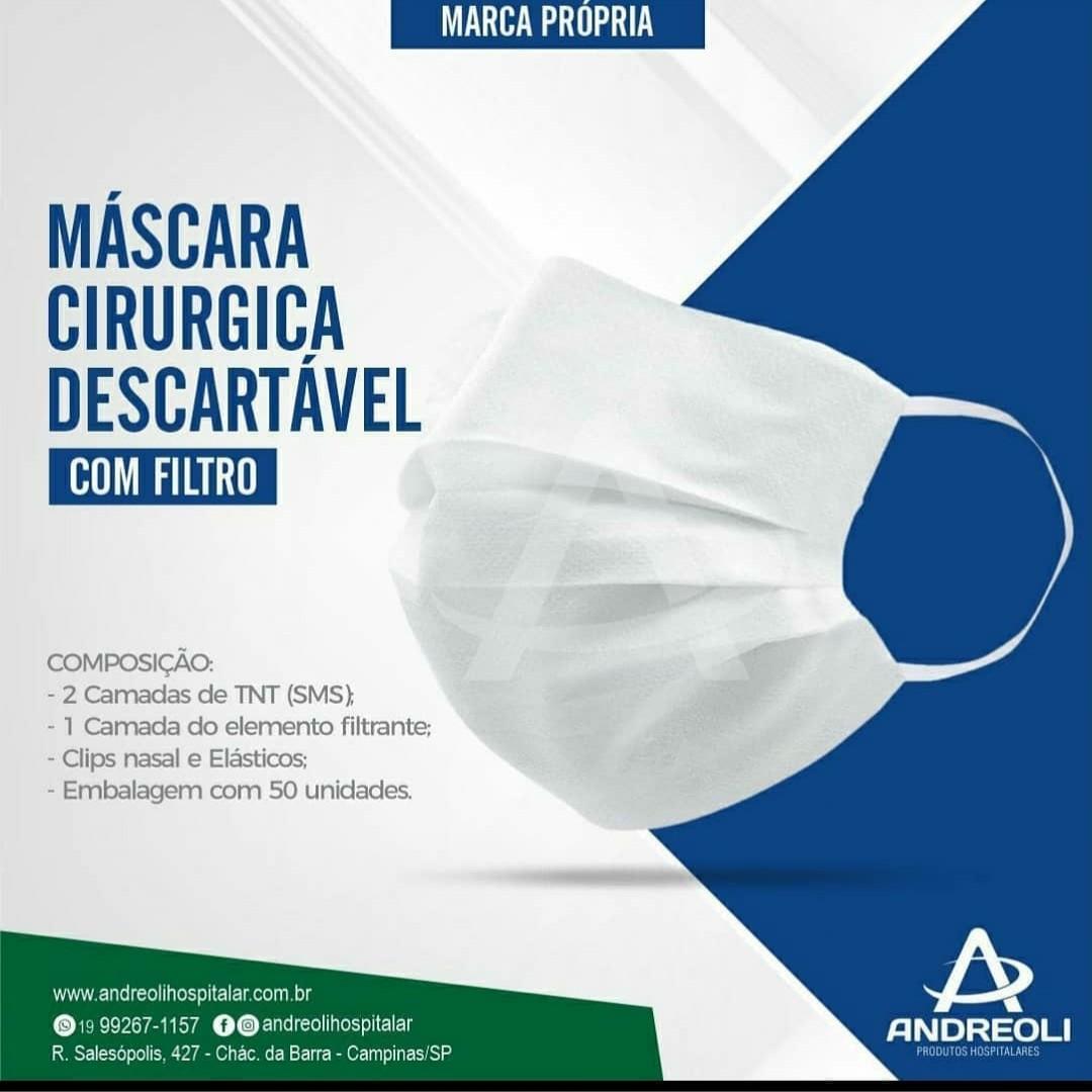 MÁSCARA CIRÚRGICA DESCARTÁVEL TRIPLA - COM FILTRO